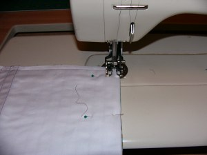 Sew along one side, then across the bottom and up the other side