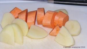 Chopped potato and sweet potato
