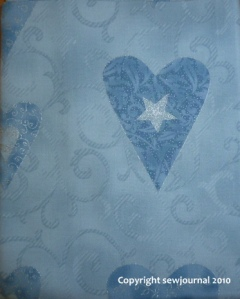 Pale blue and silver heart fabric